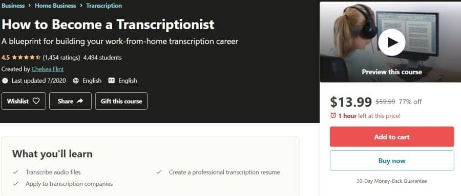 How to Become a Transcriptionist (Udemy)