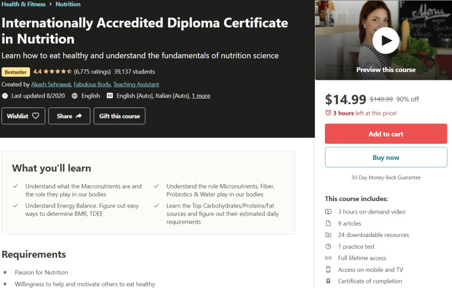 Internationally Accredited Diploma Certificate in Nutrition