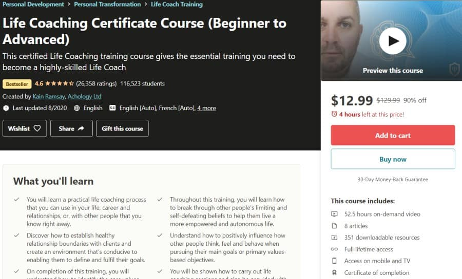 Life Coaching Certificate Course (Beginner to Advanced)