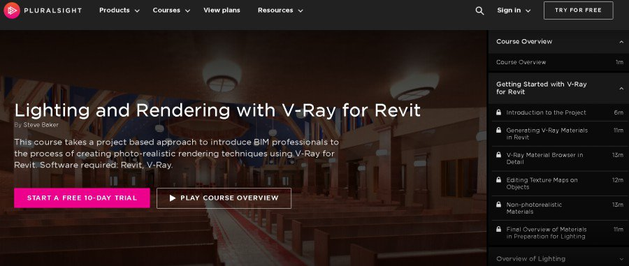 Lighting and Rendering with V-Ray for Revit (PluralSight)