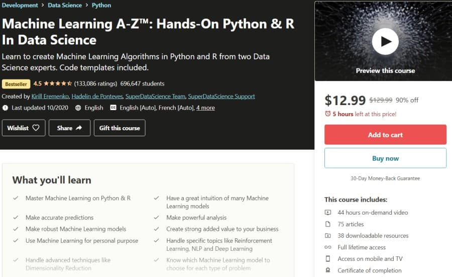 Machine Learning A-Z™ Hands-On Python & R In Data Science (Udemy)