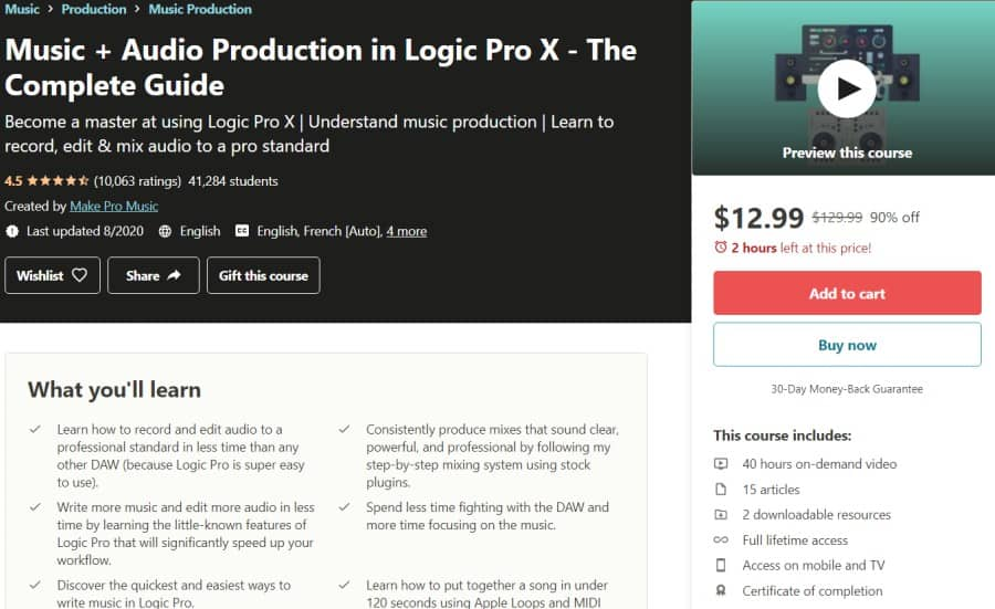 Music + Audio Production in Logic Pro X - The Complete Guide