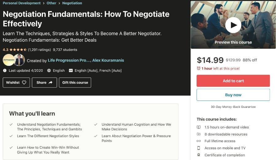 Negotiation Fundamentals How To Negotiate Effectively (Udemy)