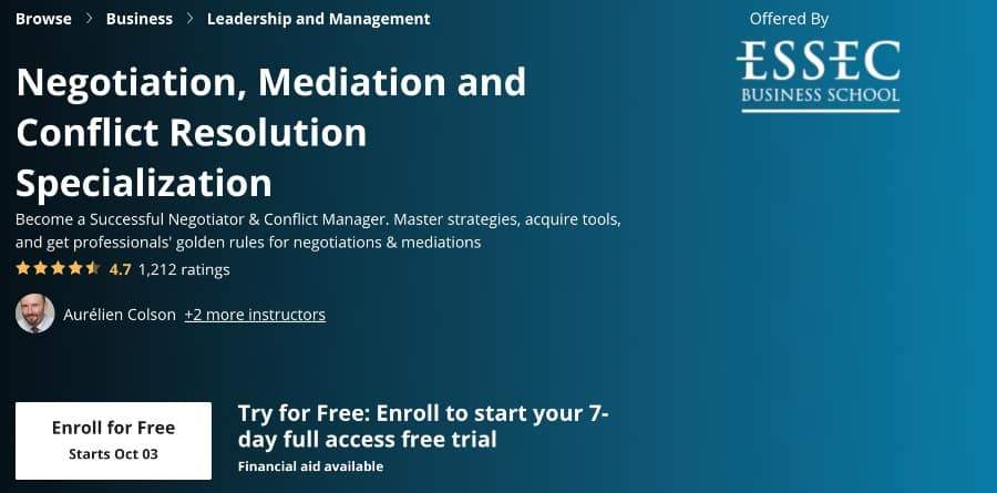 Negotiation, Mediation and Conflict Resolution Specialization (Coursera)