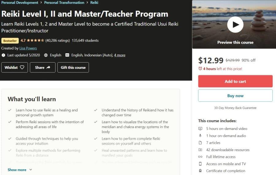 Reiki Level I, II and MasterTeacher Program