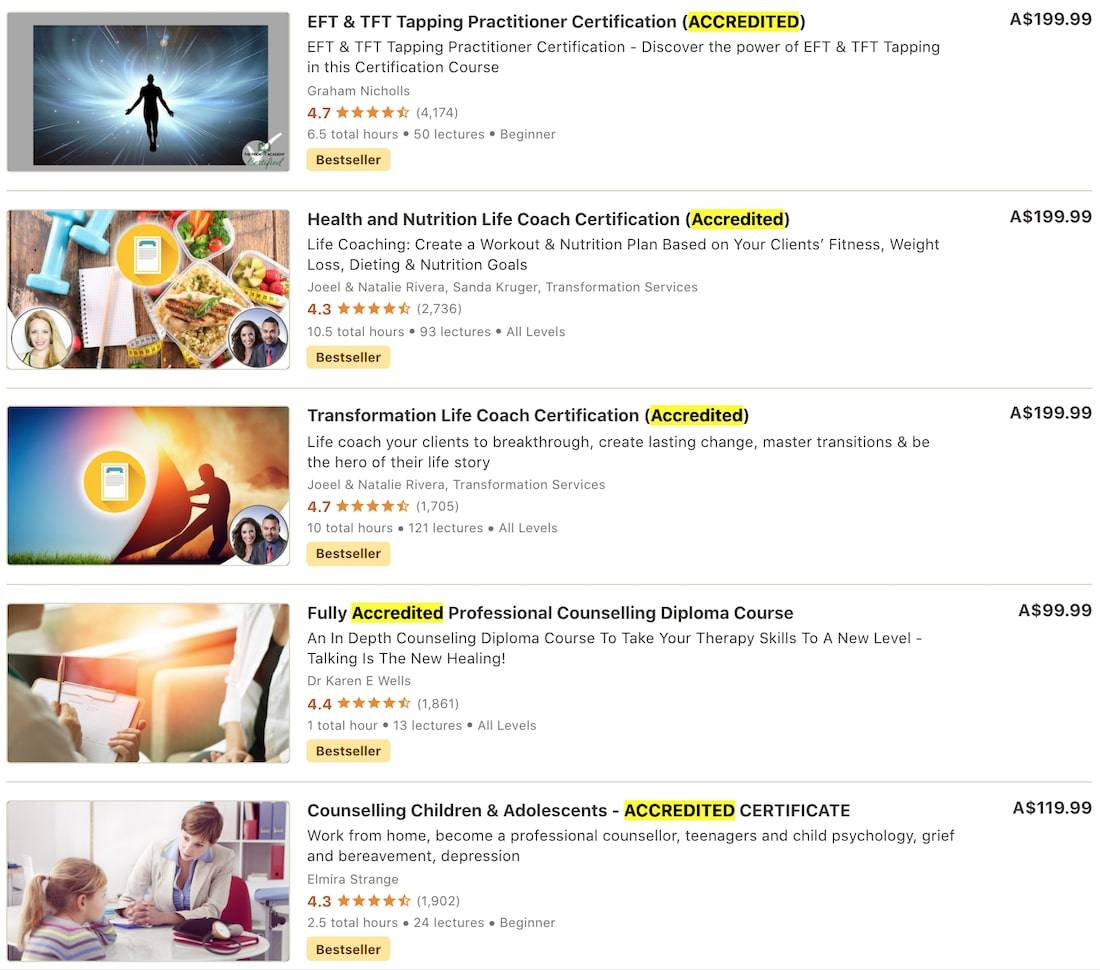 udemy accredited courses