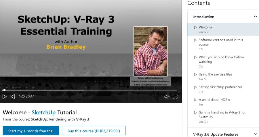 SketchUp Rendering with V-Ray 3 (LinkedIn Learning)
