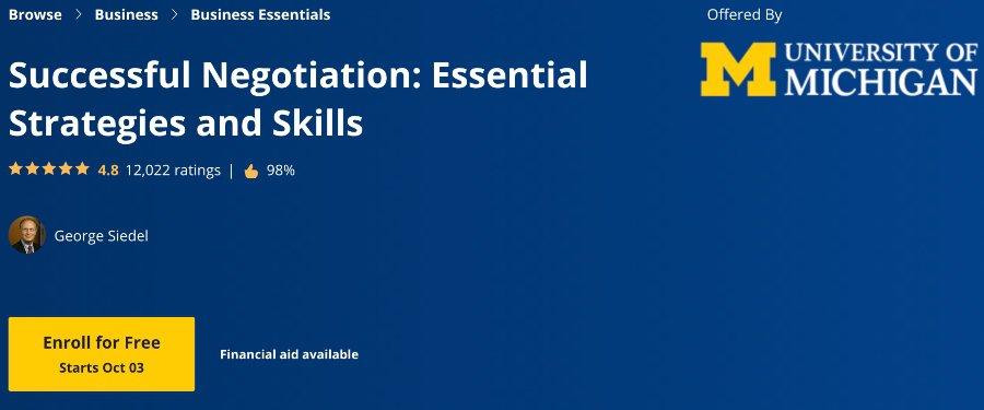 Successful Negotiation Essential Strategies and Skills (Coursera)