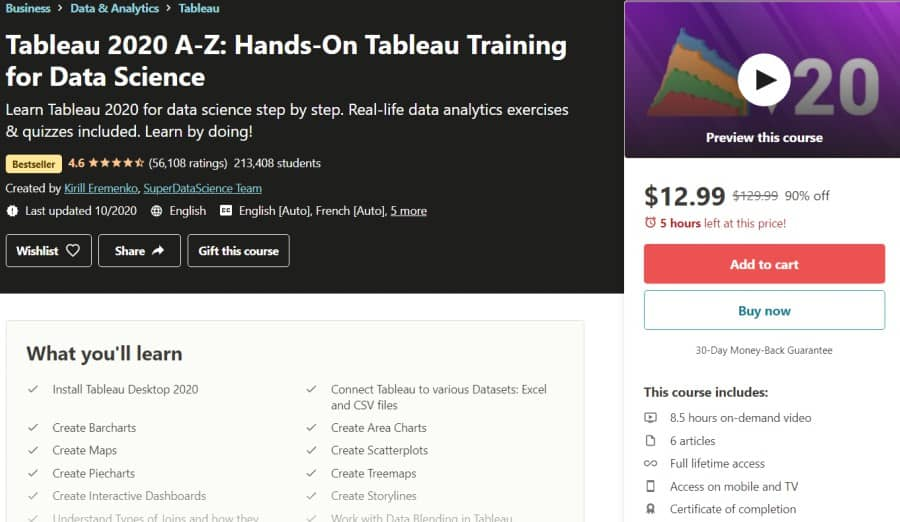 Tableau 2020 A-Z Hands-On Tableau Training for Data Science (Udemy)