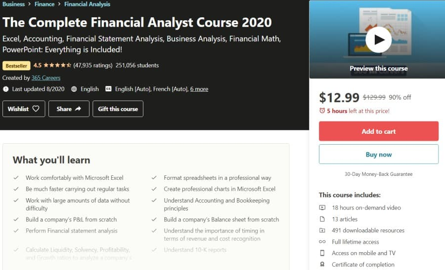 The Complete Financial Analyst Course 2020 (Udemy)