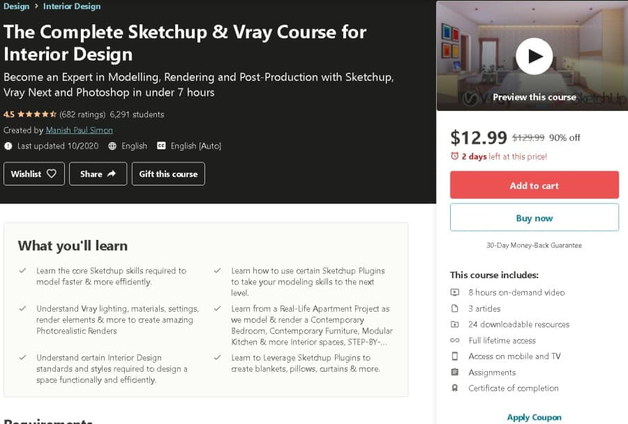 The Complete Sketchup & Vray Course for Interior Design (Udemy)