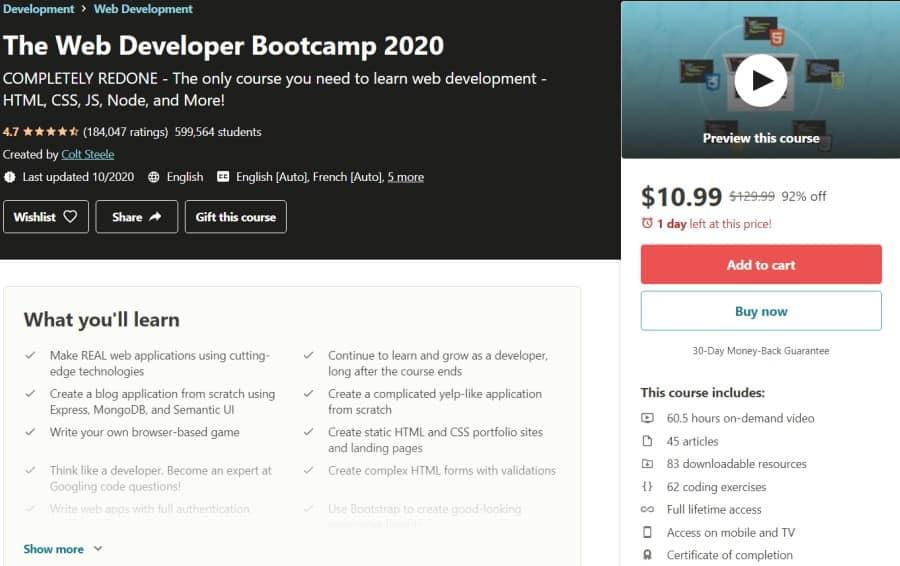 The Web Developer Bootcamp (Udemy)