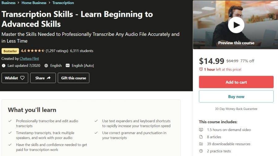 Transcription Skills - Learn Beginning to Advanced Skills (Udemy)