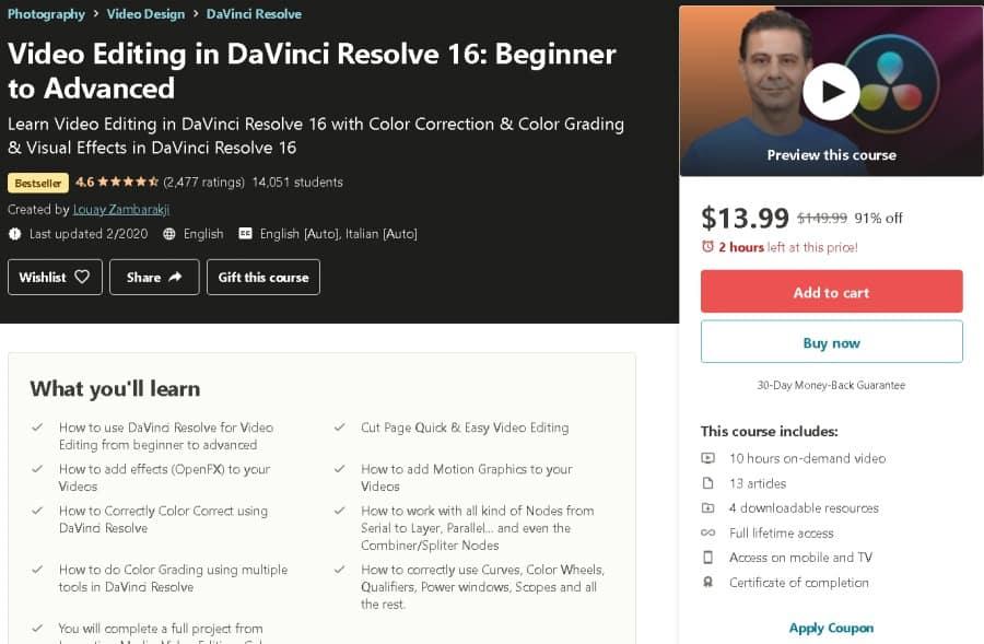 Video Editing in DaVinci Resolve 16 Beginner to Advanced (Udemy)