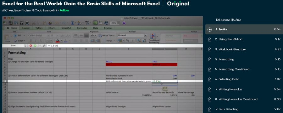 1. Excel for the Real World Gain the Basic Skills of Microsoft Excel (Skillshare)