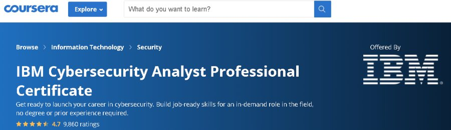 1. IBM Cybersecurity Analyst Professional Certificate (Coursera)