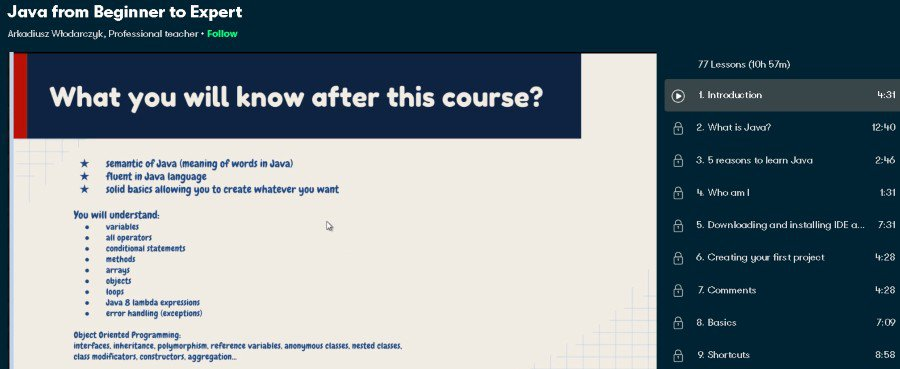 1. Java from Beginner to Expert (Skillshare)
