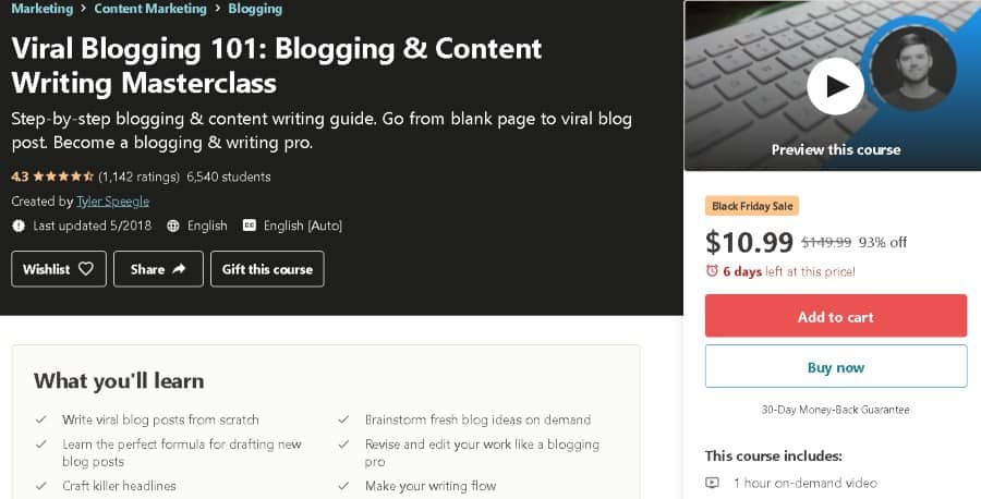 10. Viral Blogging 101 Blogging & Content Writing Masterclass (Udemy)