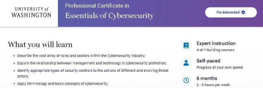 11. Professional Certificate in Essentials of Cyber Security (edX)