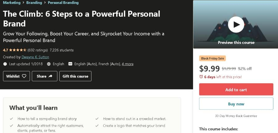 11. The Climb: 6 Steps to a Powerful Personal Brand (Udemy)