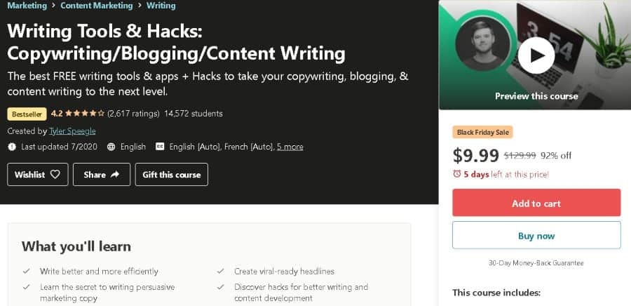 11. Writing Tools and Hacks Copywriting Blogging Content Writing (Udemy)