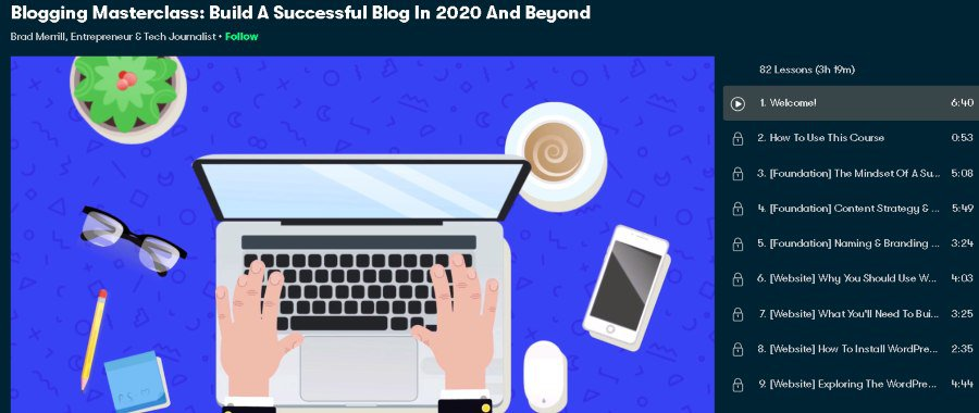 2. Blogging Masterclass Build A Successful Blog In 2020 And Beyond (Skillshare)