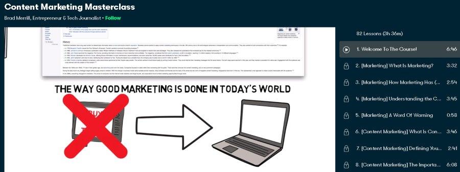 2. Content Marketing Masterclass (Skillshare)