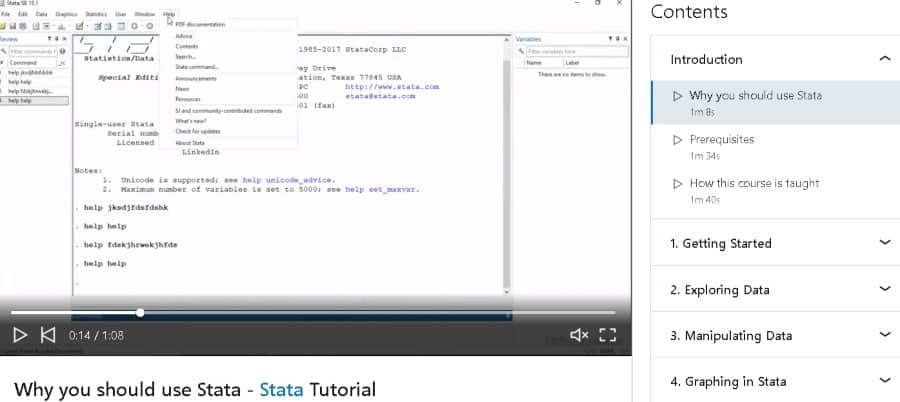 2. Introduction to Stata 15 (LinkedIn Learning)
