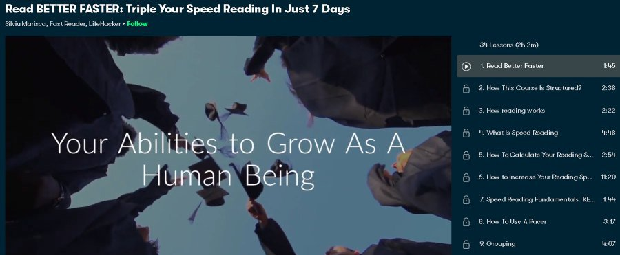 2. Read BETTER FASTER Triple Your Speed Reading In Just 7 Days (Skillshare)