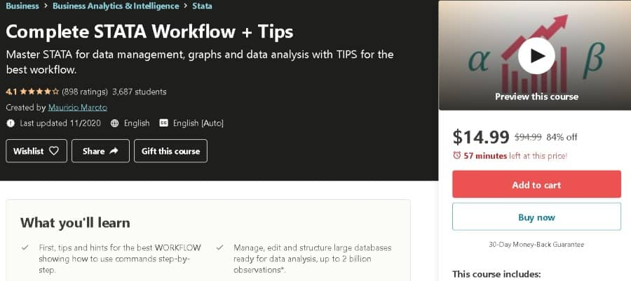 3. Complete STATA Workflow + Tips (Udemy)