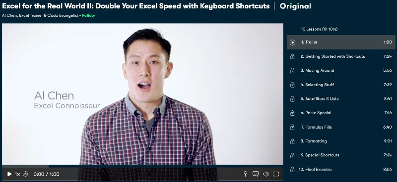 3. Excel for the Real World II: Double Your Excel Speed with Keyboard Shortcuts (Skillshare)