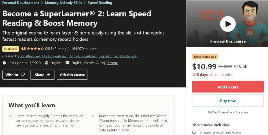 4. Become a SuperLearner® 2 Learn Speed Reading & Boost Memory (Udemy)