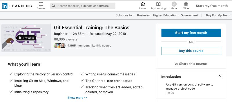 4. Git Essential Training: The Basics (LinkedIn Learning)