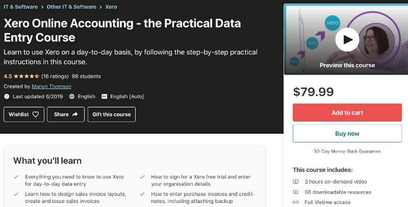 4. Xero Online Accounting - the Practical Data Entry Course (Udemy)