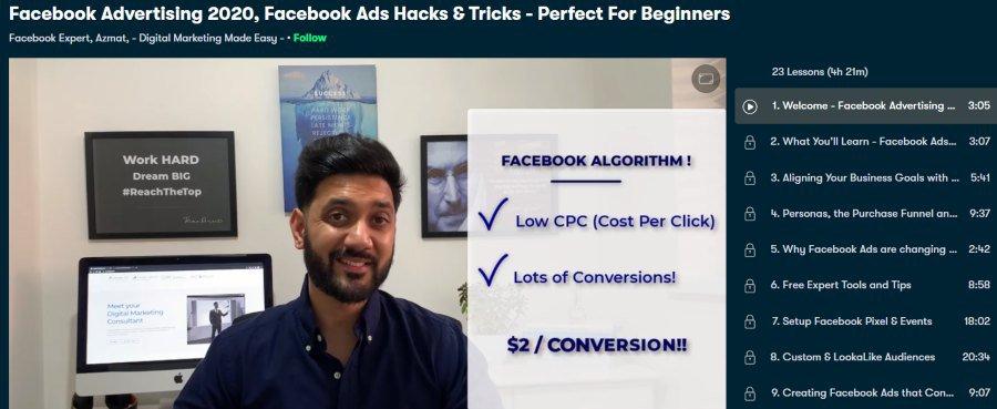 5. Facebook Advertising 2020, Facebook Ads Hacks & Tricks - Perfect For Beginners (Skillshare)
