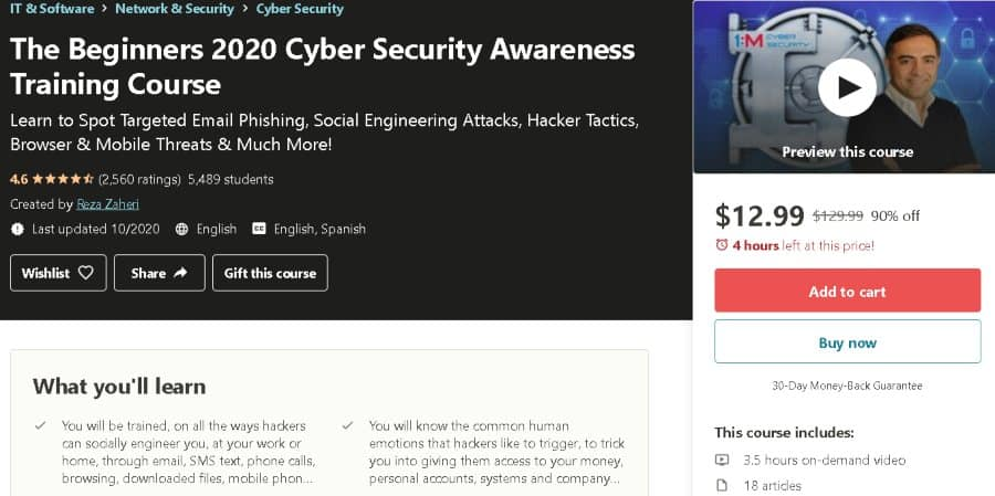 5. The Beginners 2020 Cyber Security Awareness Training Course (Udemy)