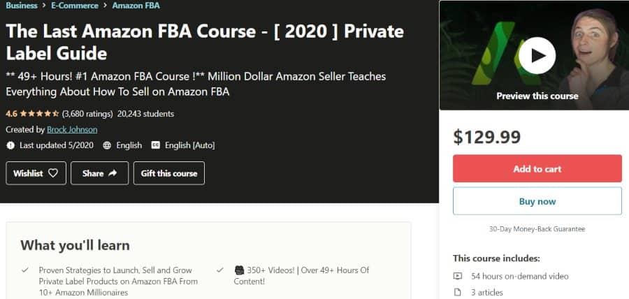 5. The Last Amazon FBA Course - [ 2020 ] Private Label Guide (Udemy)