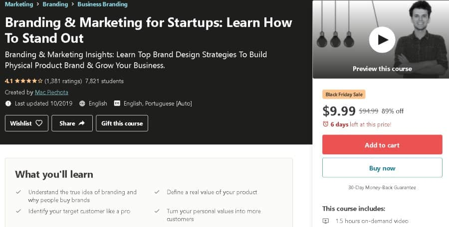 6. Branding & Marketing for Startups Learn How To Stand Out (Udemy)