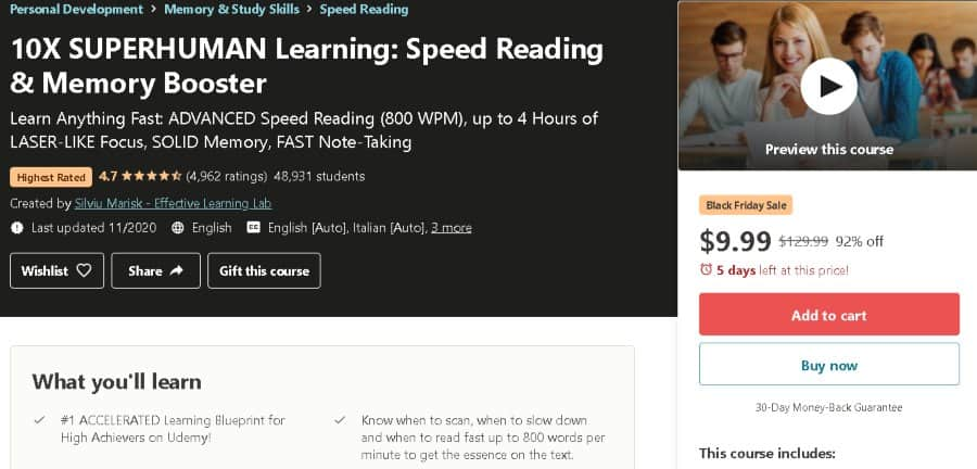 7. 10X SUPERHUMAN Learning Speed Reading & Memory Booster (Udemy)