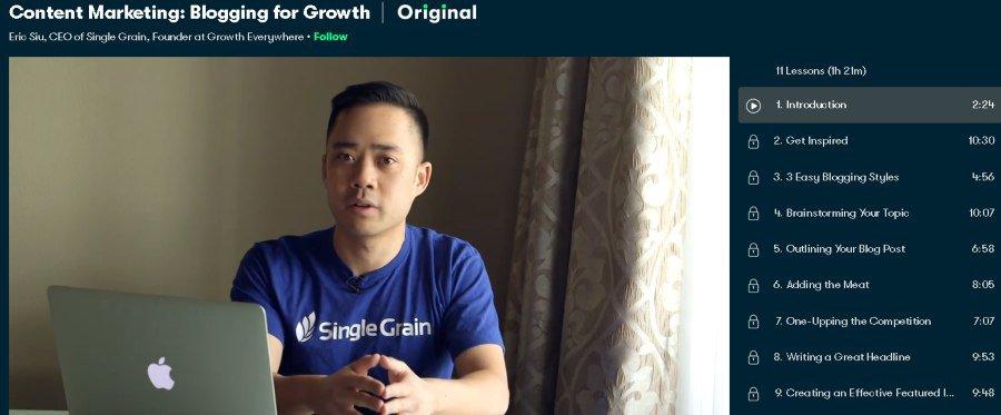 7. Content Marketing Blogging for Growth (Skillshare)