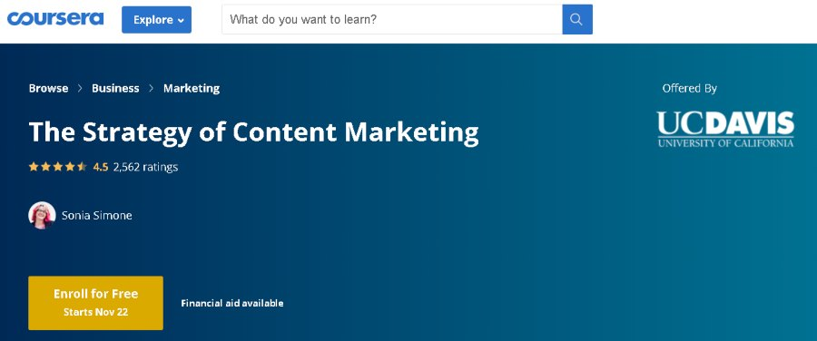7. The Strategy of Content Marketing (Coursera)