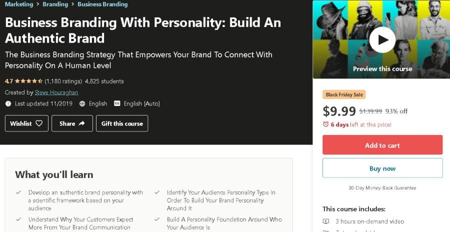 8. Business Branding With Personality Build An Authentic Brand (Udemy)
