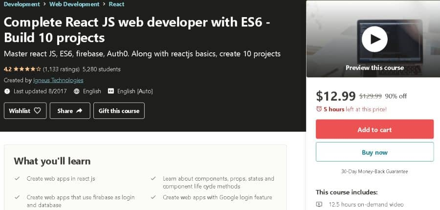 8. Complete React JS web developer with ES6 - Build 10 projects (Udemy)