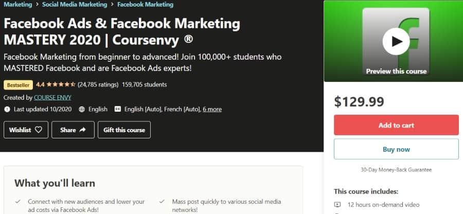 8. Facebook Ads Facebook Marketing MASTERY 2020 Coursenvy ® (Udemy)