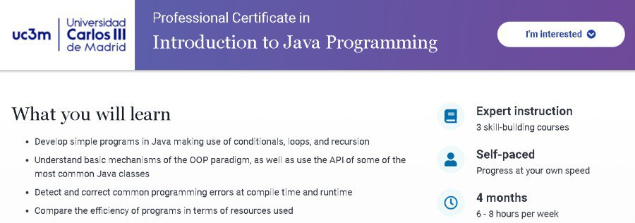 8. Professional Certificate in Introduction to Java Programming (edX)