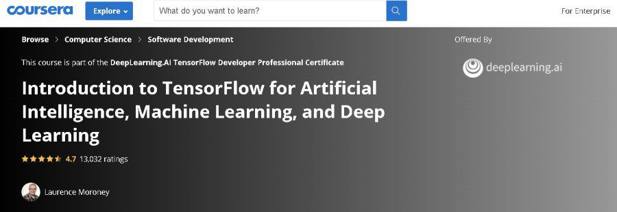 9. Introduction to TensorFlow for Artificial Intelligence, Machine Learning, and Deep Learning (Coursera)