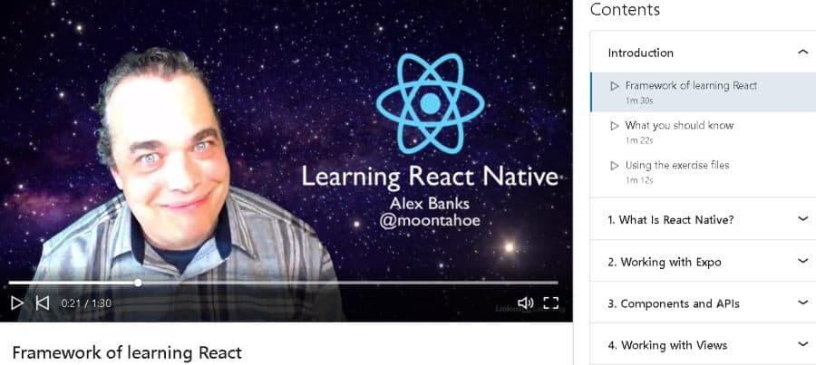 9. Learning React Native (LinkedIn Learning)