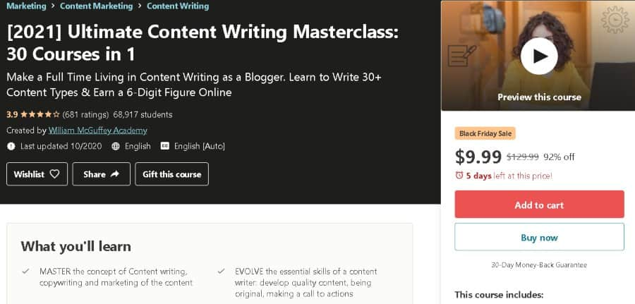 9. Ultimate Content Writing Masterclass 30 Courses in 1 (Udemy)
