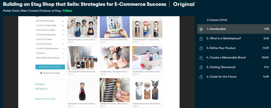 1. Building an Etsy Shop that Sells Strategies for E-Commerce Success (Skillshare)
