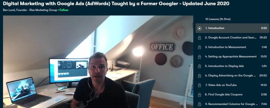 1. Digital Marketing with Google Ads (AdWords) Taught by a Former Googler - Updated June 2020 (Skillshare)